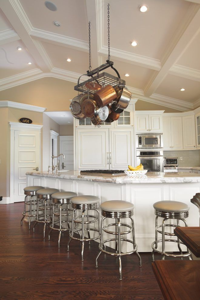 Vaulted Ceiling Decorating Kitchen Traditional With White Cabinet