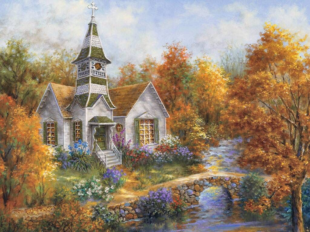 Autumn Church I Think It Might Be Thomas Kinkade But