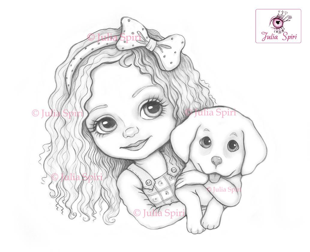Cute Girl Coloring Page Digital Stamp Digi Dog Doggy Doggie Pet Fantasy Crafting Scrapbooking Card Whimsy Leslie And Puppy In 2020 Puppy Coloring Pages Digital Stamps Coloring Pages For Girls