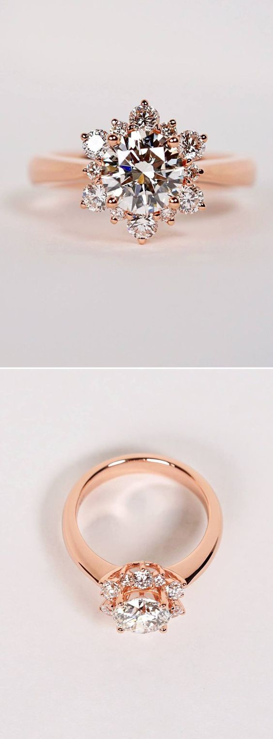 Beautiful rose gold engagement ring inspired by a snowflake