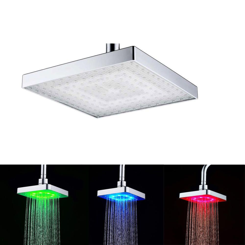 Ultra Thin Brushed Nickel Square Led Rainfall Shower Head Wall