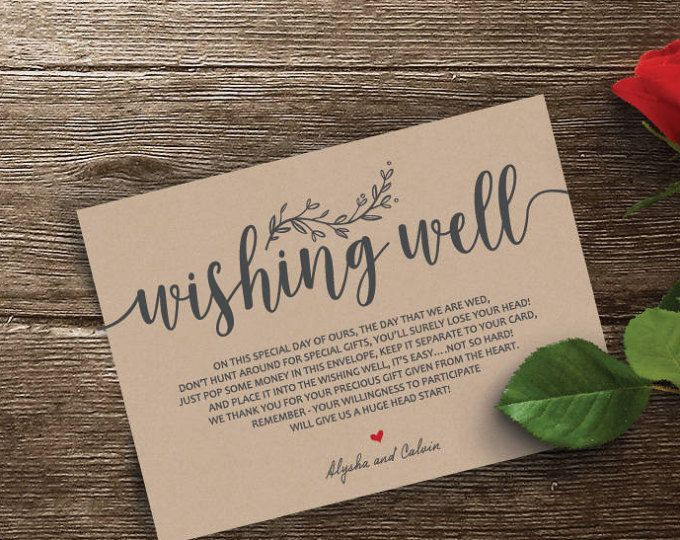 Wedding Insert Cards Pdf Template Instant Download Etsy Cards Wishing Well Thank You Card Template