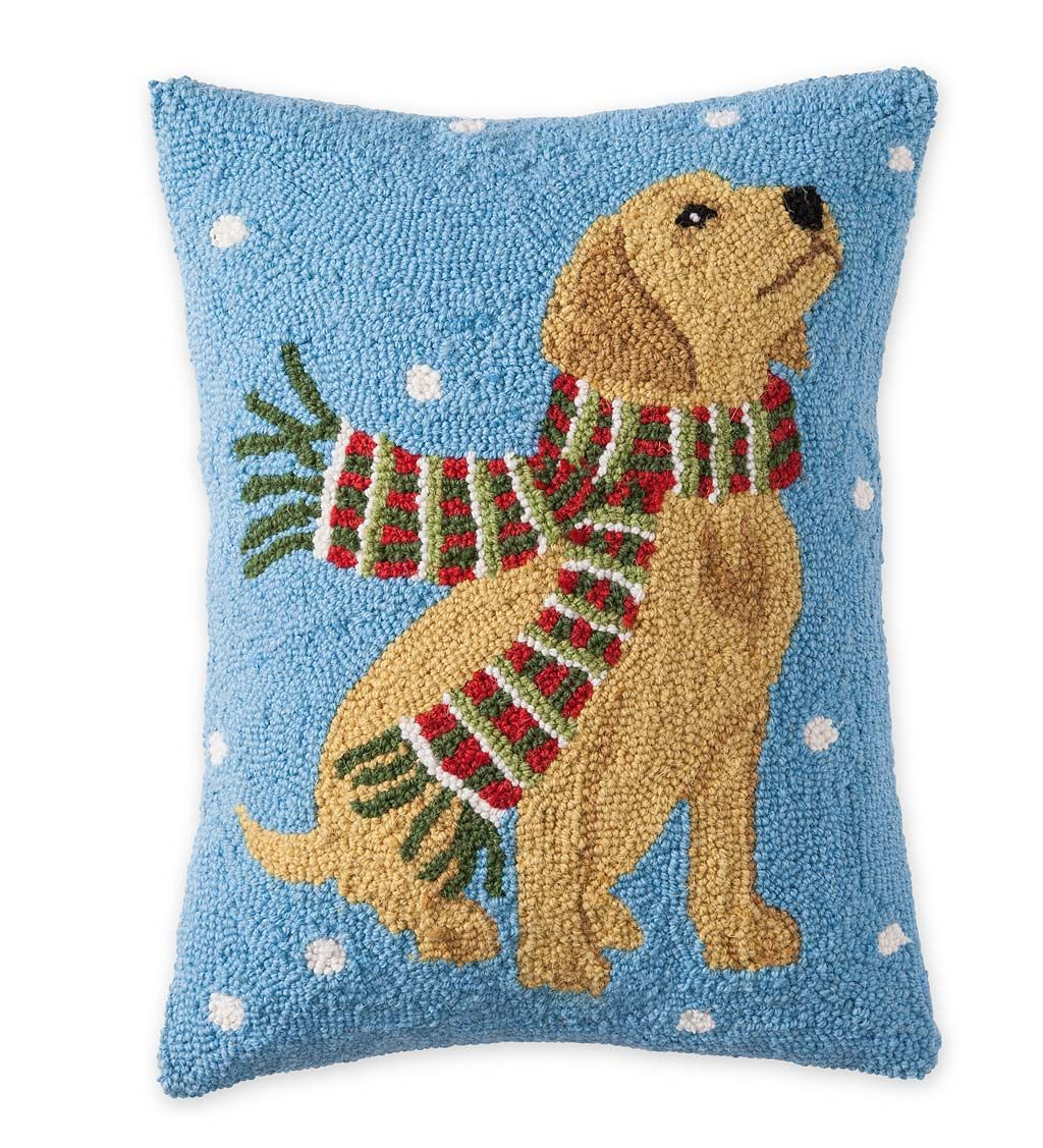Hooked Wool Holiday Throw Pillow With Yellow Lab And Snowflakes Pillows Holiday Throw Pillow Felted Wool Crafts Wool Pillows