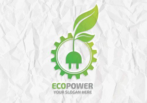 Eco Power Logo; green plug and leaf professional logo template - editable leaf template