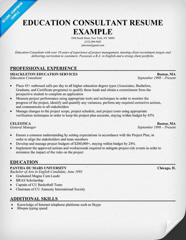 Education Consultant Resume (resumecompanion) Resume Samples
