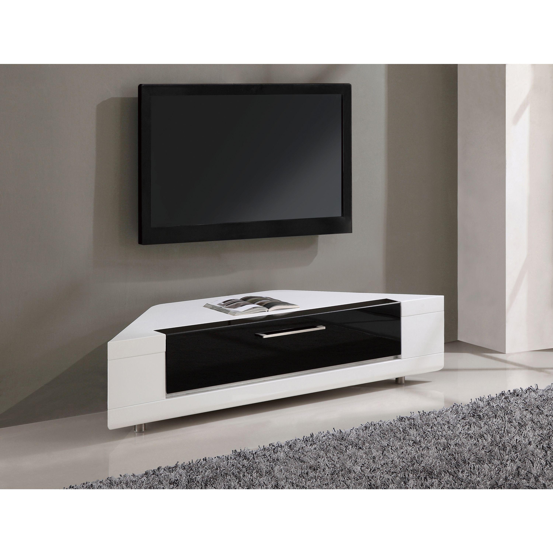 Roma Remix Ir Remote Compatible Corner Tv Stand White Black  # Meuble Tv Roma