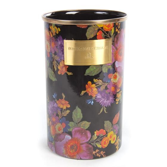 Flower Market Utensil Holder - Black: Plant a vibrant kitchen garden with our Black Flower Market Utensil Holder—no green thumb required! Each is color-glazed and hand decorated with floral transfers, creating a wonderfully lush countertop container for even the most utilitarian spatulas and spoons.