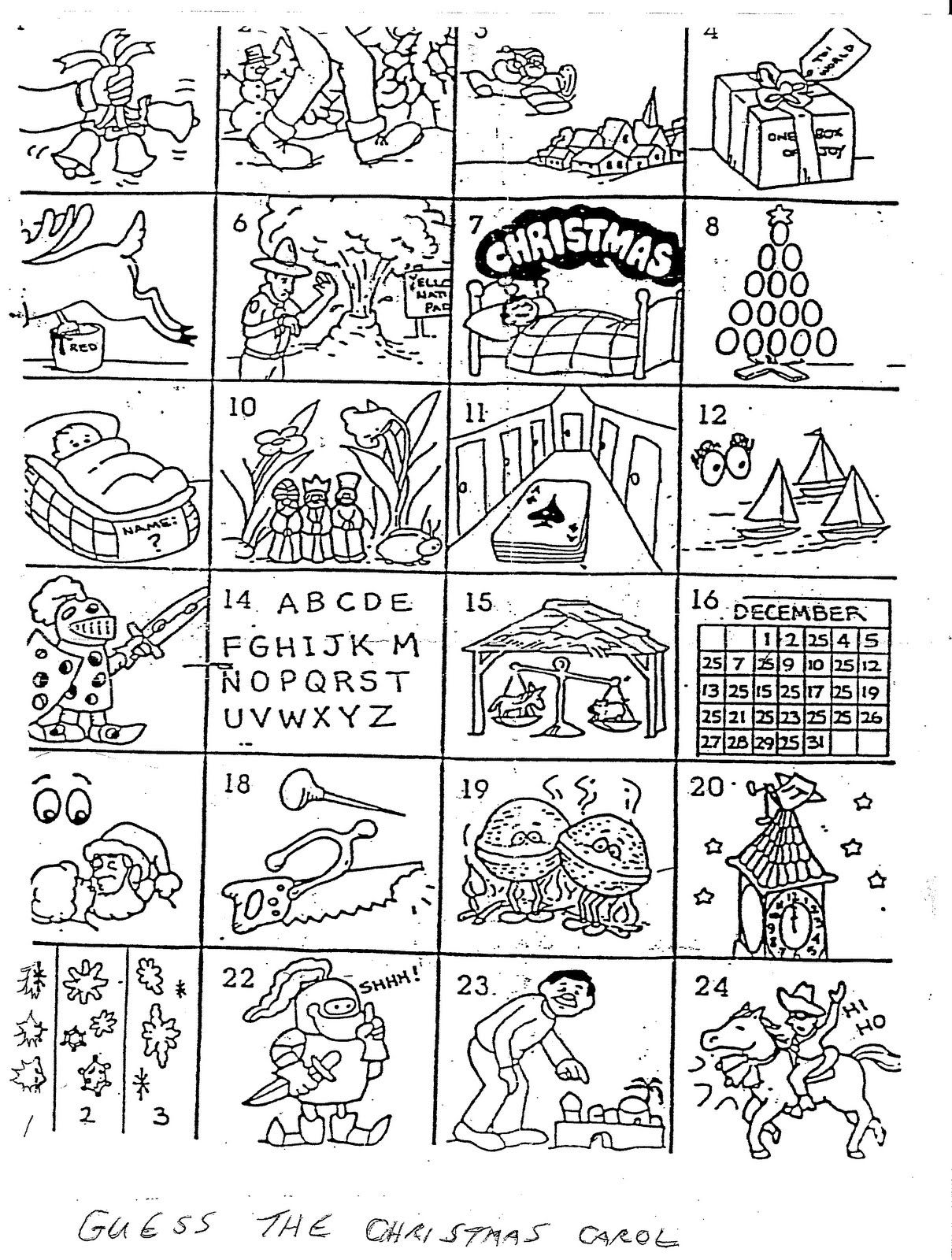 Can You Name The Christmas Carol In Each Box
