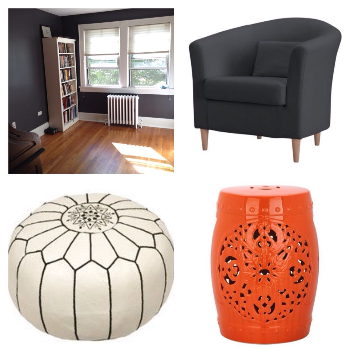 Sitting room painted and ready to be filled. These are the items I like. Chair, poof and garden stool to go next to the book case, large gold frame Mirror to go behind it. Opposite wall to be filled with framed art.
