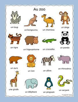 French Zoo Animals Au Zoo Puzzles Pack Les Animaux Zoo Animals Zoo Animal Puzzle