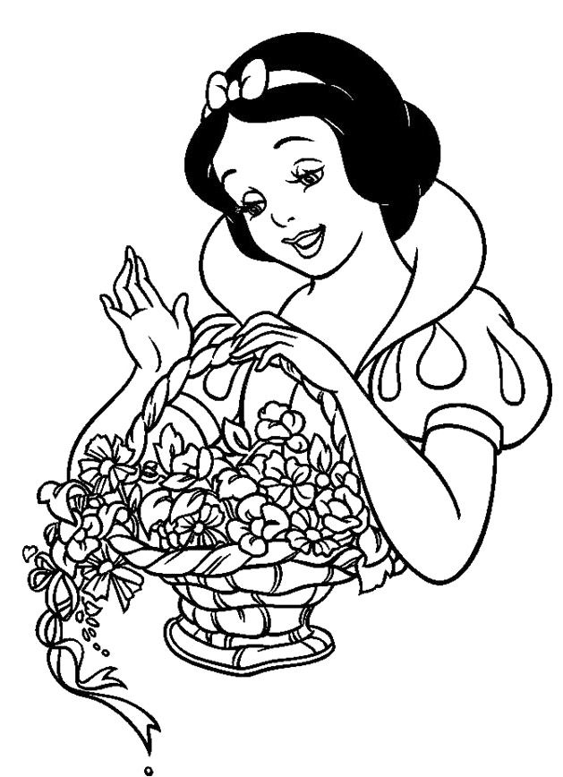 Snow White And Flowers Coloring Pages
