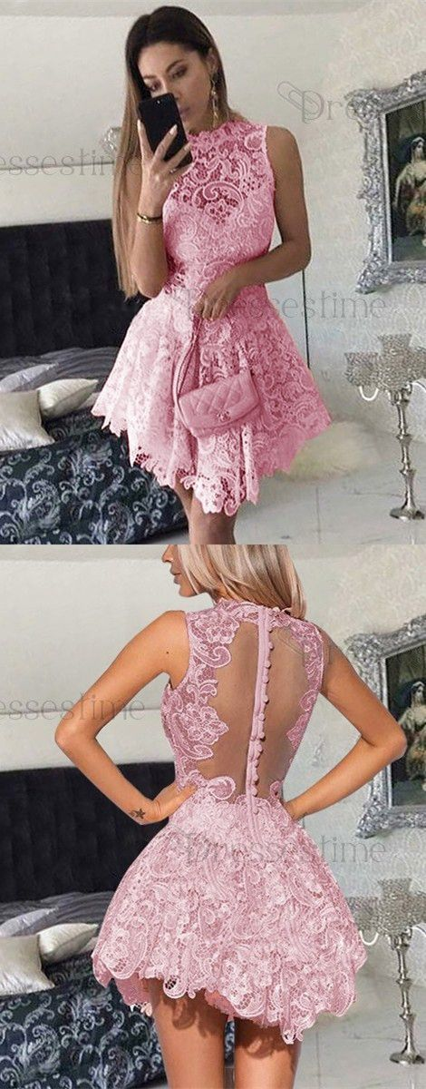 A-line Round Neck Light Blue Lace Short Homecoming Dress,81107 ...