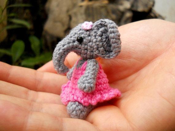 Cute Mini Elephant Amigurumi Tiny Crochet Elephant Stuffed Animal