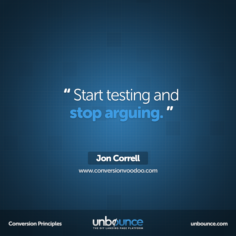 """This week's Conversion Insight """"Start testing and stop"""