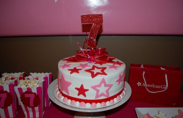 Decorated cake at an American Girl party! See more party ideas at ...