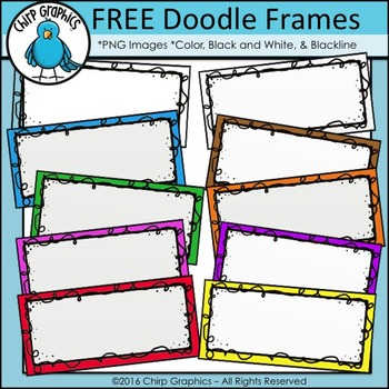 FREE Rectangle Doodle Frames Clip Art - Chirp Graphics