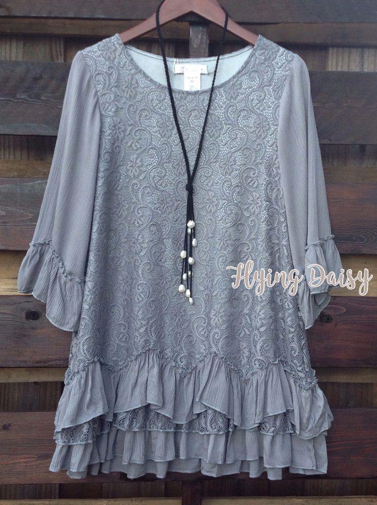30cb1469c456a Plus Size Lace Ruffle Tunic Top