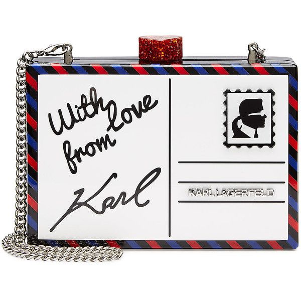 Part of Karl Lagerfelds Around the World collection, this postcard clutch is a structured and super fun way of adding humor to body-conscious dresses and slick…