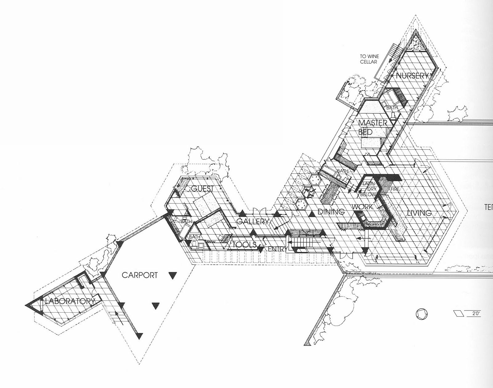 Frank Lloyd Wright The Wall House Plans Amp Sections