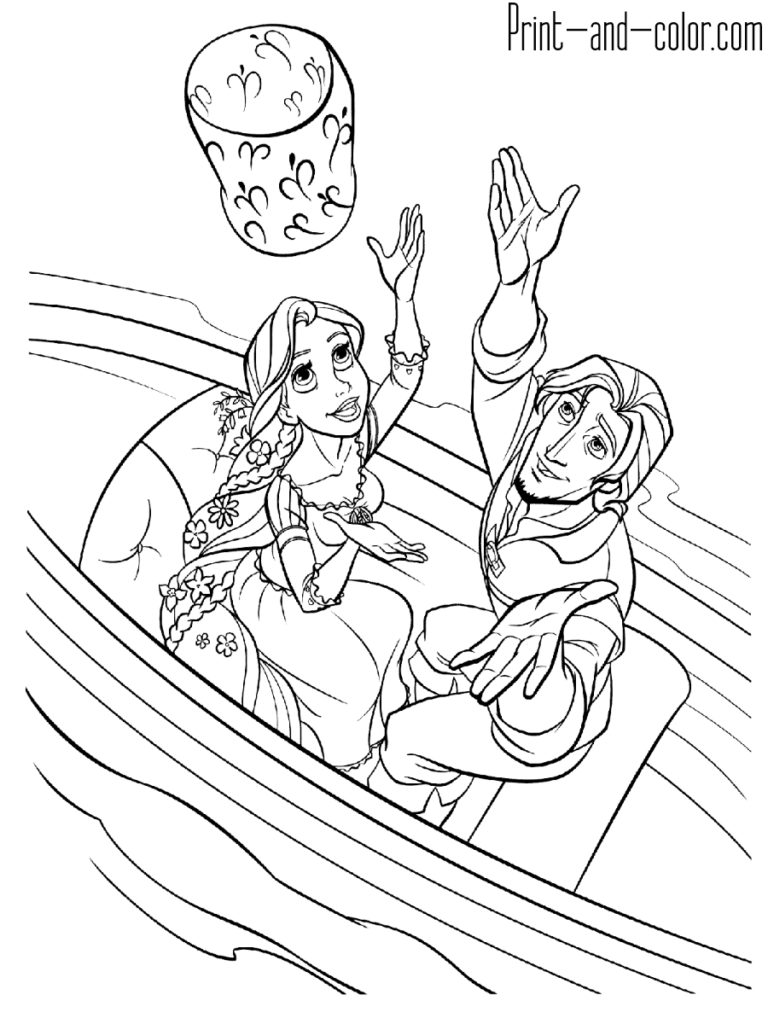 Rapunzel coloring page Flynn Rider boat sky lantern  Coloriage