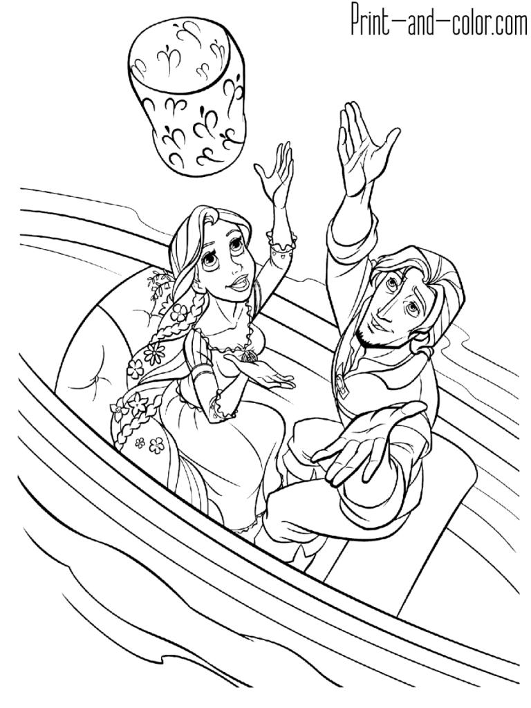 Rapunzel Coloring Page Flynn Rider Boat Sky Lantern Tangled Coloring Pages Princess Coloring Pages Disney Princess Coloring Pages