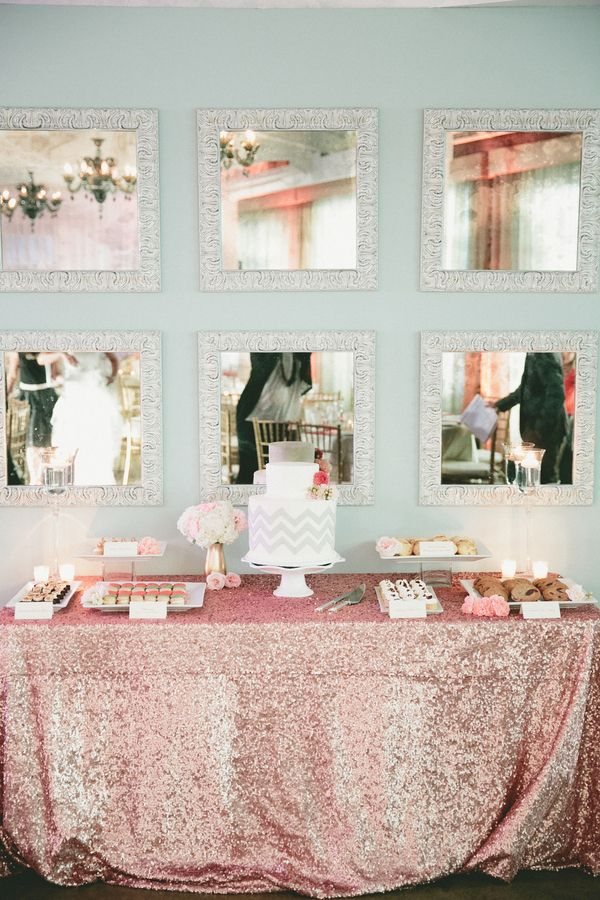 Pink Mint And Gold Wedding With Lots Of Sparkle Sequin