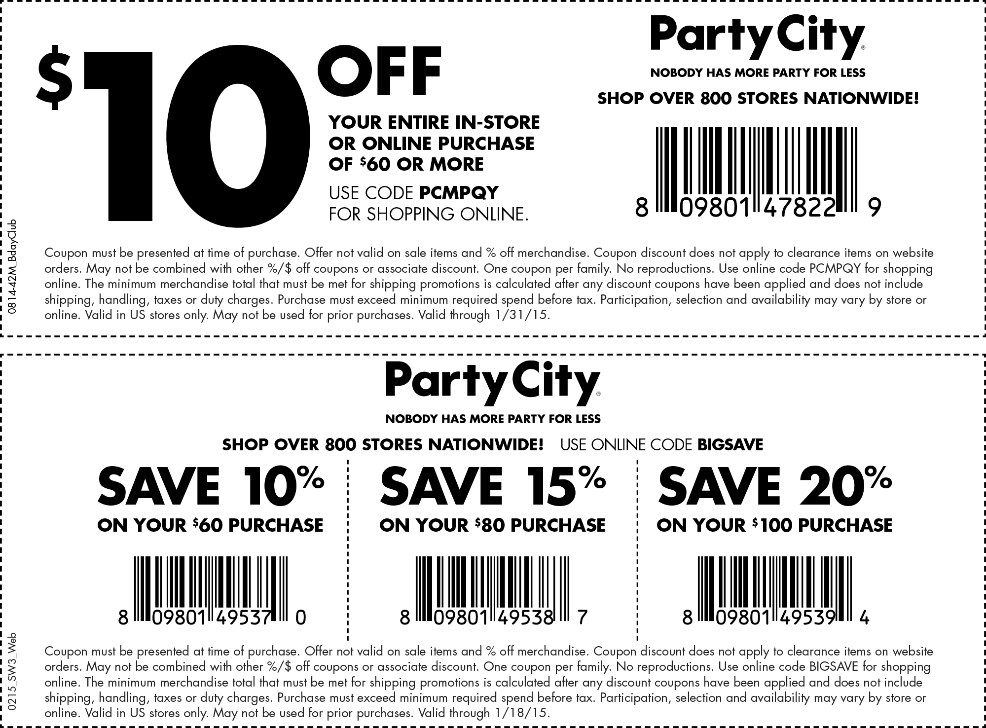 Pinned January 23rd 10 off 60 at Party City, or online