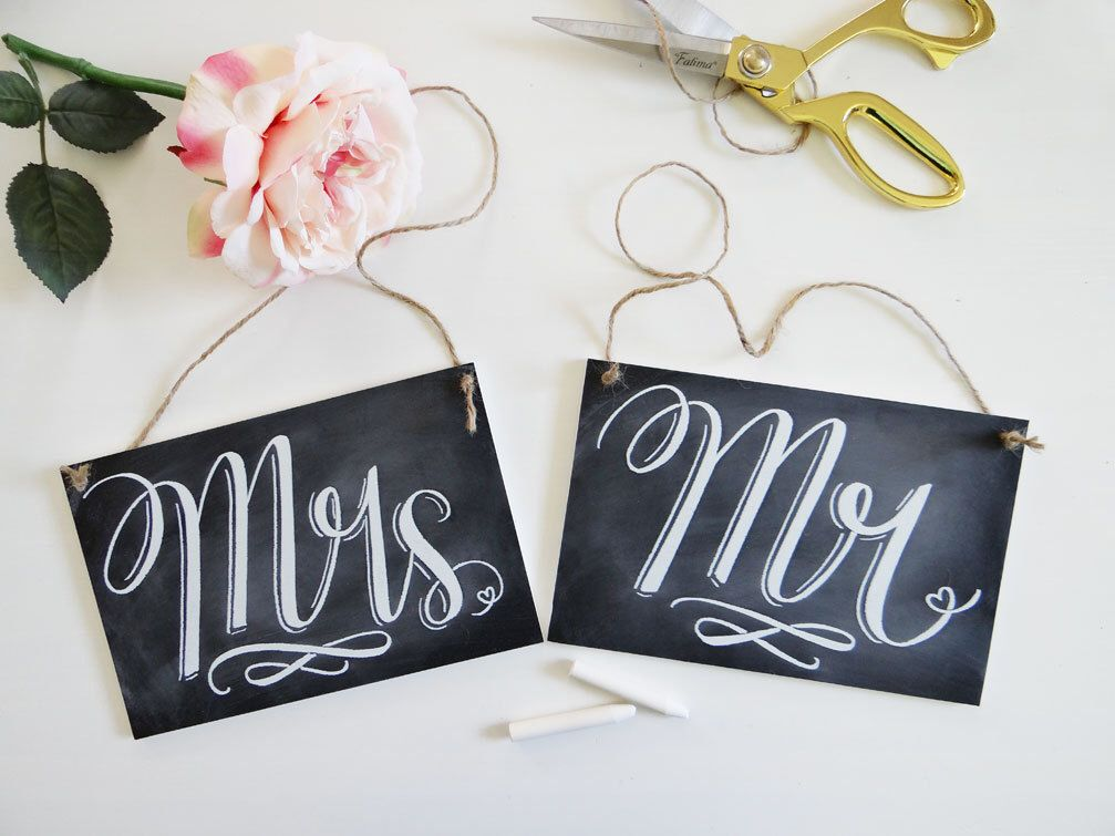 Chalkboard Wedding Chair Signs - Mr. & Mrs. Signs- Wedding Photo ...