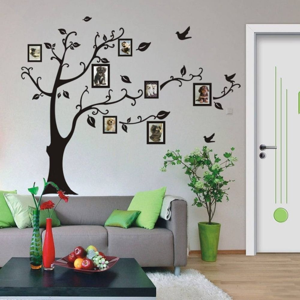 Family Wall Decor Diy : Black d diy photo tree pvc wall decals adhesive family
