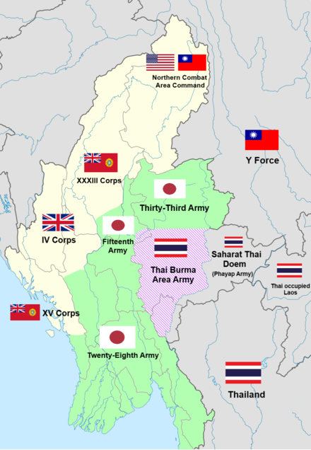 Map of the burma front showing the conflict of japanese thai and burma wwii japanese thai siamese and allied forces gumiabroncs Image collections