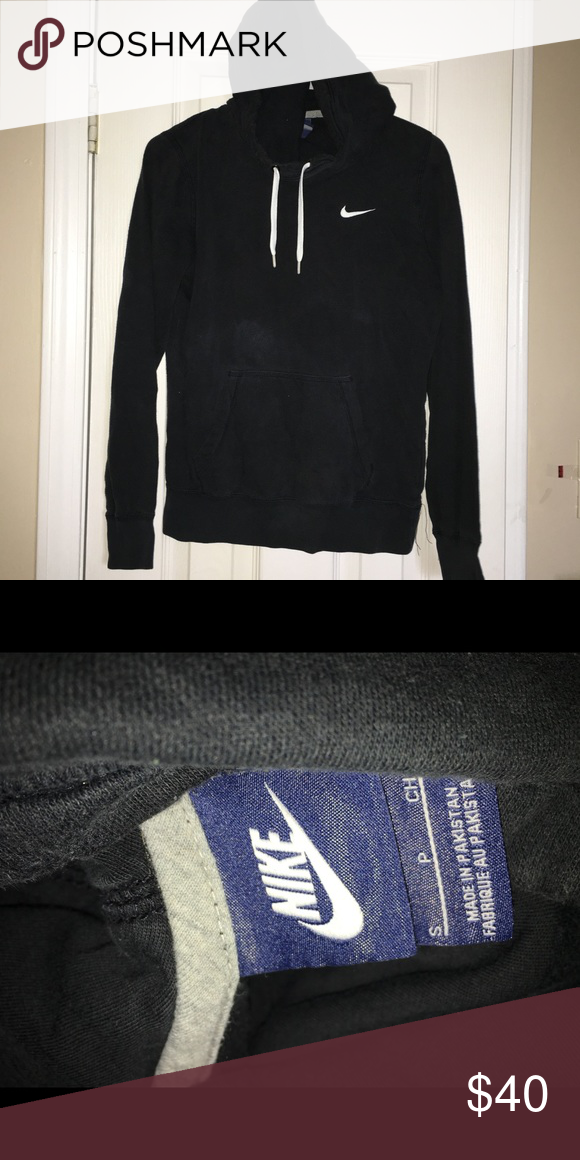 Nike Black Sweater -Scoop Neck . Makeup is on the front of the sweater just