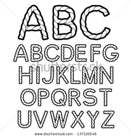 Vector black white rope font alphabet