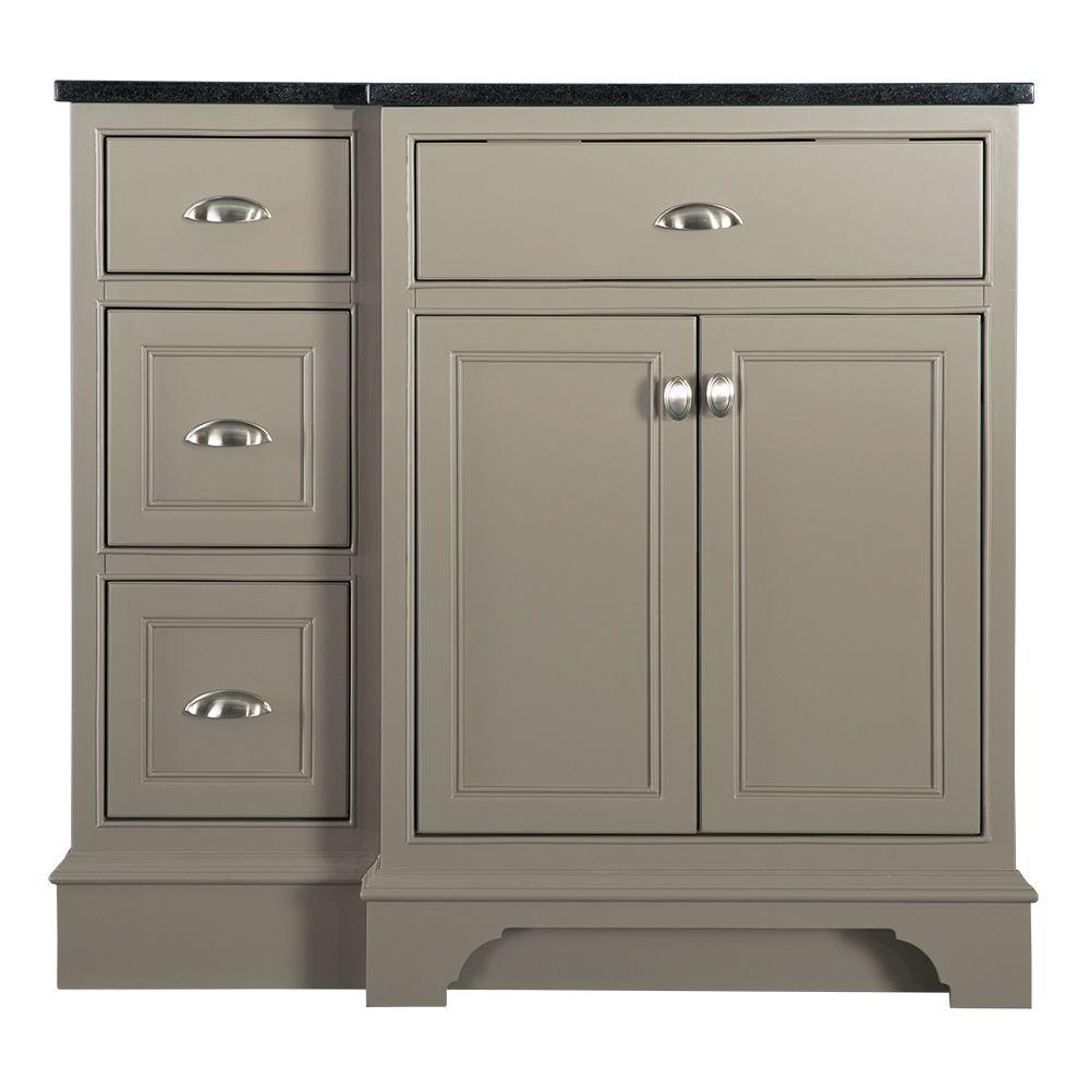 Home Decorators Collection Hayward 37 In W X 22 In D Bath Vanity In Warm Grey With Granite Vanity Top In Black Hwgv3722 The Home Depot Granite Vanity Tops Bathroom Vanity