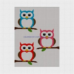 Three 3 Babies Owls Sitting on Branches Crochet Afghan Pattern Graph by cozyconcepts