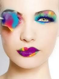 Face design focus of many colors that tell the story of beauty in eyes and closed lips.