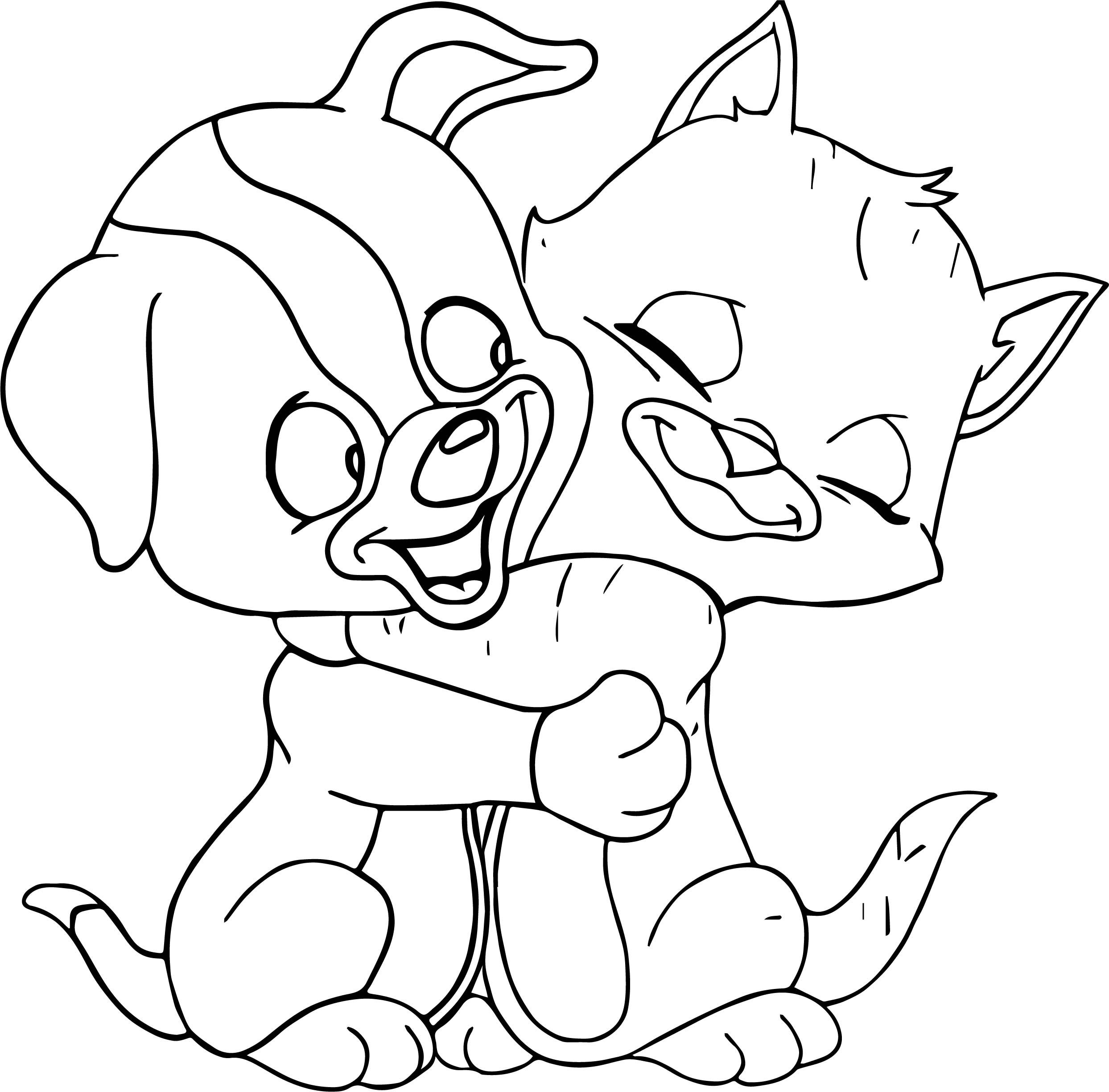 Cat Dog Hug Coloring Page Puppy Coloring Pages Cartoon Coloring