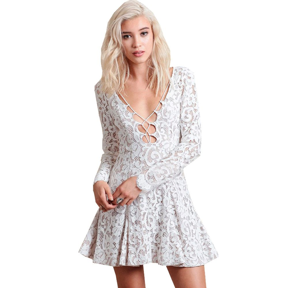 Summer sexy party lace dresses women hook flowers hollow weave