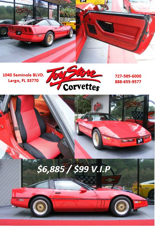 85 Coupe Bright Red With Transparent Removable Roof Panel Rare 4 3 Manual Trans With Overdrive Custom Jvc Stereo System With C D Corvette Toy Store Coupe