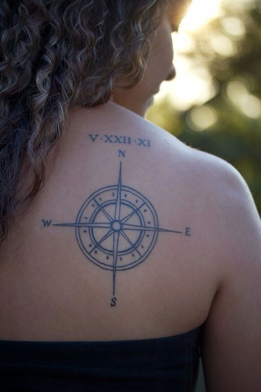 Are Roman Numeral Tattoos Lame: Compass Tattoo With Anniversary Date In Roman Numerals