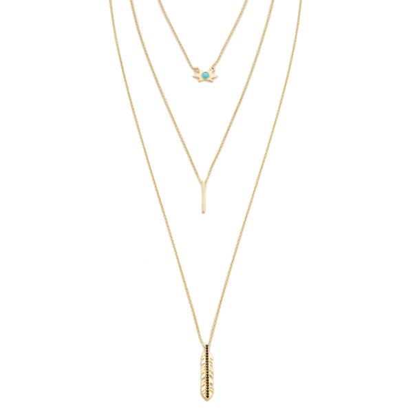 Jules Smith Long Layered Star Leaf Necklace (¥8,505) ❤ liked on Polyvore featuring jewelry, necklaces, colar, multi layer necklace, 14k necklace, long layered necklace, gold plated necklace and star necklace