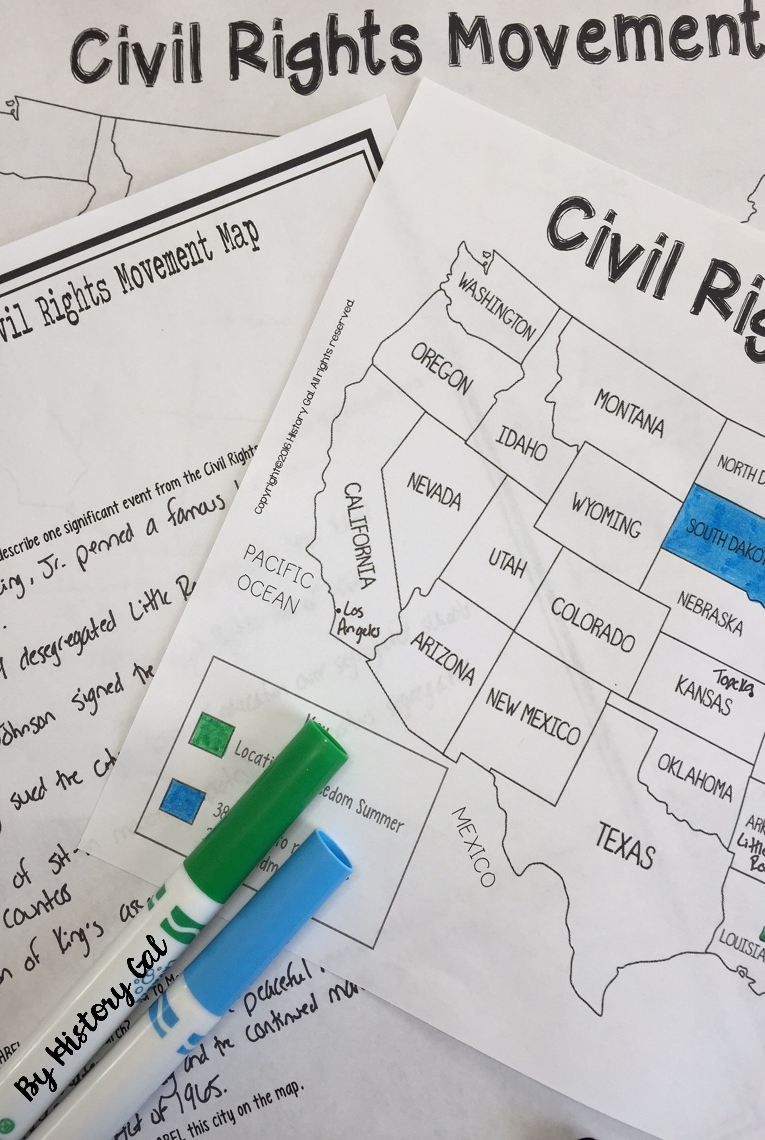 Civil Rights Movement Map (Print and Digital)   Civil rights movement [ 4380 x 2940 Pixel ]
