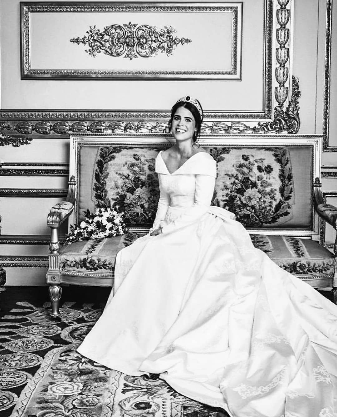Royal And Celebrity Lifestyle On Instagram Beautiful Black And White Picture Of Princess Eugeni In 2021 Princess Beatrice Wedding Royal Wedding Gowns Eugenie Wedding [ 1334 x 1080 Pixel ]