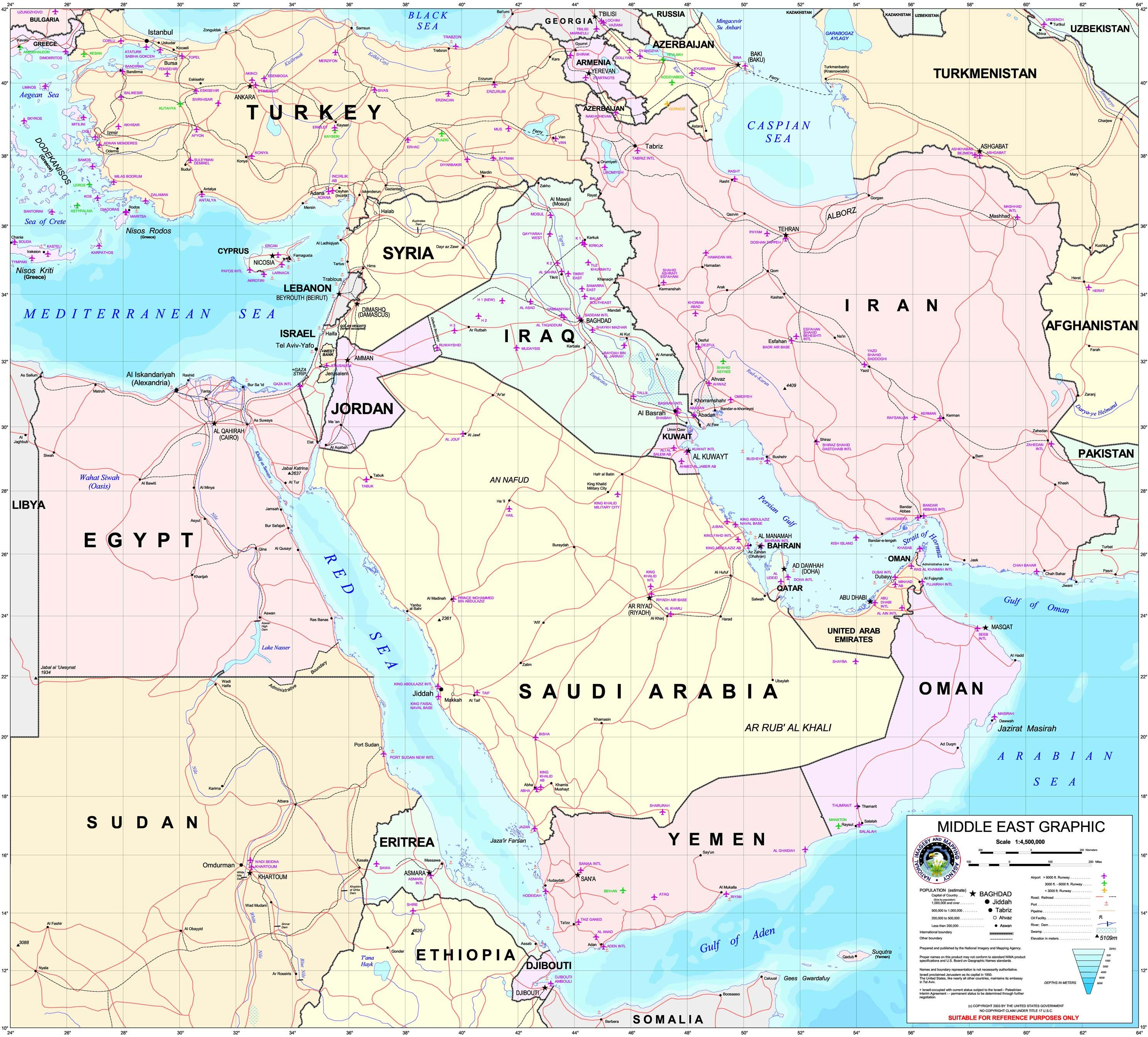 Middle East Map | Middle East Maps - Perry-Castañeda Map ...