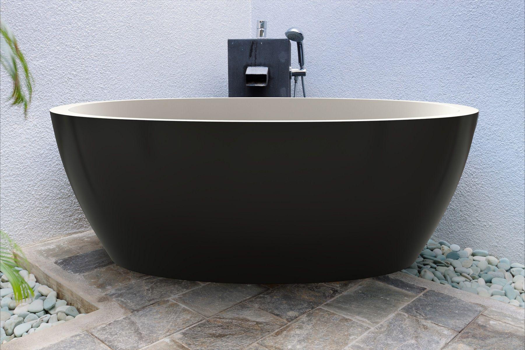 Aquatica Sensuality Blck Wht Freestanding Solid Surface Bathtub