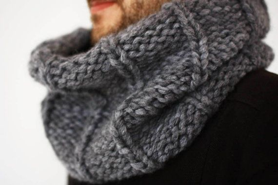 Handknit Chunky Mens Cowl Circle Infinity Scarf For By Creaspir 38 00 Hand Knit Scarf Mens Knitted Scarf Knitting