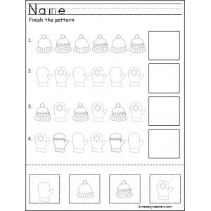 Free Winter Cut And Paste Pattern Worksheet  Worksheets Winter