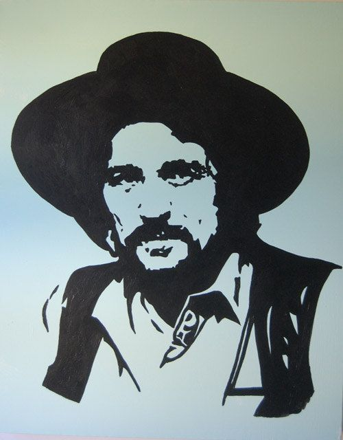 Waylon Jennings painting  Americana  Pop Art  by CheshirePaint, $100.00