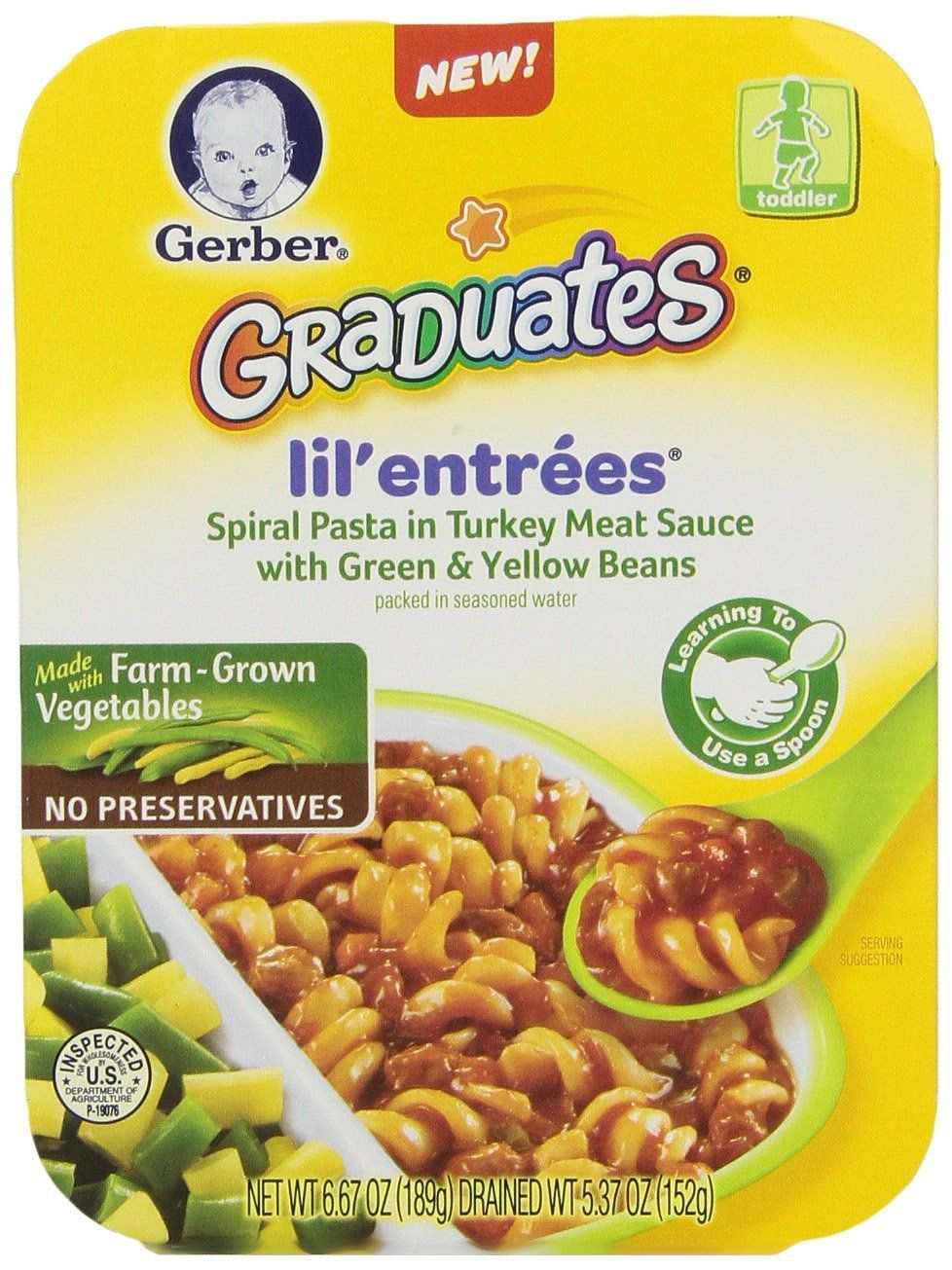 Gerber Graduates Lil Entreees Pasta with Turkey Meat ...