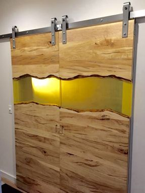Custom Made Modern Live Edge Wood And Resin Barn Door