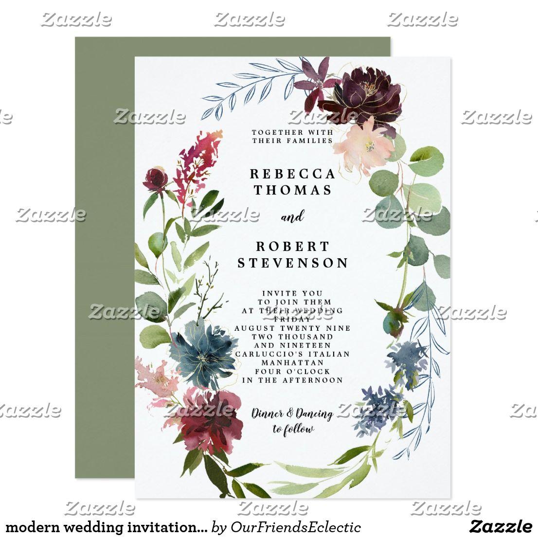 modern wedding invitation burgundy floral wreath Zazzle